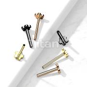 Implant Grade Titanium Threadless Push In Labret, Flat Back Stud Pins with 5-Petal Flower Base