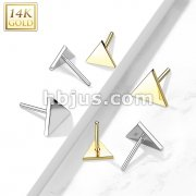14kt Gold Threadless Push In Flat Triangle Tops