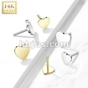 14kt Gold Threadless Push In Flat Heart Tops