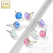 14kt Gold Threadless Push In Opal Prong Set Tops