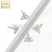 14kt Gold Threadless Push-In 3 CZ Set Triangle Top