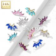 14K Gold Threadless Push In 5 Marquise CZ Fan Set Curved Top