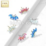14K Gold Threadless Push In 5 Marquise Opal Fan Set Curved Top