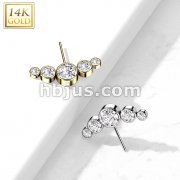 14K Gold Threadless Push In Front Facing 5-Round CZ Bezel set Curved Top