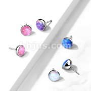 Implant Grade Titanium Threadless Push In Top Opal Bezel Set Balls