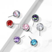Implant Grade Titanium Threadless Push In Top Front Facing Zircon Bezel Set Balls