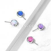 Implant Grade Titanium Threadless Push In Top Front Facing Opal Bezel Set Balls