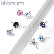 Implant Grade Titanium Threadless Push InTop Zircon Prong Set