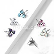 Implant Grade Titanium Threadless Push In Zircon set Trinity Tops