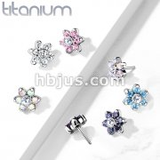 Implant Grade Titanium Threadless Push In Zircon set Flower Tops