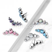 Implant Grade Titanium Threadless Push In 5-Round Swarovski Crystal Bezel set Curve Tops