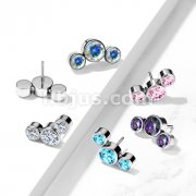 Implant Grade Titanium Threadless Push In 3-Round CZ Bezel set Curve Tops
