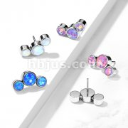 Implant Grade Titanium Threadless Push In 3-Round Opal Bezel set Curve Tops