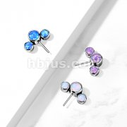 Implant Grade Titanium Threadless Push In 3 Round Opal Bezel Set Curved Front Facing Tops
