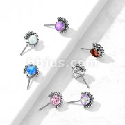 Implant Grade Titanium Threadless Push In Top Front Facing CZ or Opal Bezel Set with Beaded Ball Edge