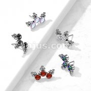 Implant Grade Titanium Threadless Push In Top Curve 3 CZ Bezel Set with Triangle Ball Clusters