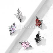 Implant Grade Titanium Threadless Push In Beads with CZ Bezel Set Cluster Center Top