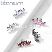 Implant Grade Titanium Threadless Push In 4 Marquise Crystal Fan Top