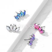 Implant Grade Titanium Threadless Push In 4 Marquise Opal Fan Top