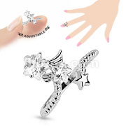 Star Multi-Paved Gems Adjustable Rhodium Plated Brass Mid-RIng