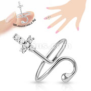 Cross Multi-Paved Gems Adjustable Rhodium Plated Brass Mid-RIng