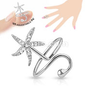 Starfish Multi-Paved Gems Adjustable Rhodium Plated Brass Mid-Ring