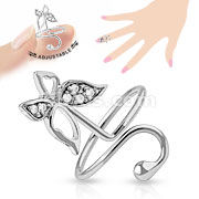 Butterfly Multi-Paved Gems Adjustable Rhodium Plated Brass Mid-Ring