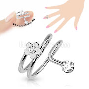 Flower CZ Adjustable Rhodium Plated Brass Mid-Ring