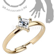 Single Pronged Square CZ Adjustable Brass Mid-Ring/Toe Ring