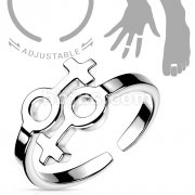 Double Female Symbol Adjustable Rhodium Plated Brass Mid-Ring/Toe Ring