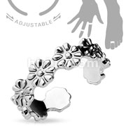 Adjustible Toe Ring/Mid Ring Linked Flowers