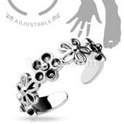 Adjustable Toe Ring/Mid Ring Linked 5 Petal Flowers