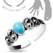Adjustable Toe Ring/Mid Ring Black Diamond Crystal and Turquoise Center