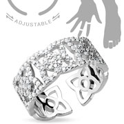 Adjustable Toe Ring/Mid Ring Micro Paved CZ Flowers