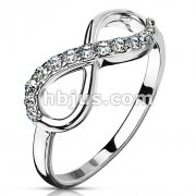 Infinity Multi-Paved Gems Stainless Steel Cast Ring