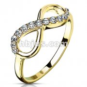 Gold IP Infinity Multi-Paved Gems Stainless Steel Cast Ring