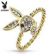 Gem Paved Playboy Bunny Gold Plated Rope Ring