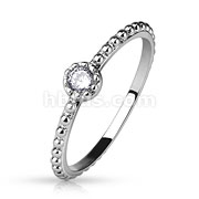 Round CZ Set Beaded Ring/Midi Ring