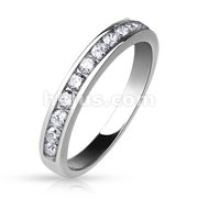 Half Circle CZ Set Eternity Ring