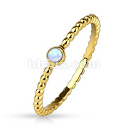 Opal set 14Kt. Gold Plated Braided Stackable Ring/Mid Ring