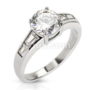 Stainless Steel Round Cut CZ Ring