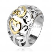 Vintage Heart Swirls Two Tone IP Frontal Ring Stainless Steel