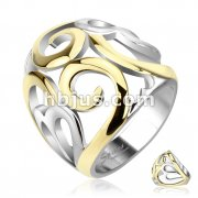 Smoke Swirl Hearts Two Tone IP Frontal Ring Stainless Steel