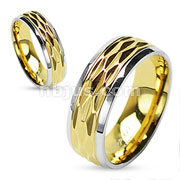 Dia Cut Gold IP Center Shiny Finish Steel Edges 316L Surgical Stainless Steel Ring
