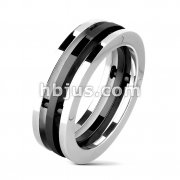 Stainless Steel Black IP Centered Three Band Combination Ring