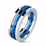 Centered Blue IP Three Band Combination Ring Stainless Steel