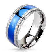 Blue IP Center 316L Surgical Stainless Steel Rings