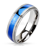 Grooved Cut Step Edge Stainless Steel Blue IP Band Ring
