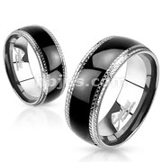 Stainless Steel with Etched Edges and Black IP Center Band Ring