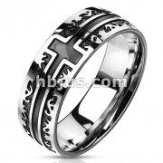 Black IP Cross with Tribal Filigree Edges 316L Stainless Steel rings